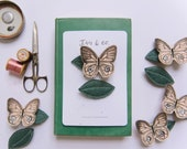 Blush Butterfly + Leaf Hair Clips