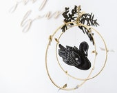 Swan Lake Mobile in Black and Luxe Metallic Leather - Nursery Decor for Baby