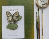 Gold Moth + Leaf Hair Clips