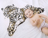 Tiger - Organic Cotton Swaddle Blanket - Gold and Black Ink - Fair Trade Certified - FREE US SHIPPING