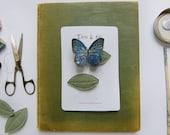 Blue Morpho Butterfly + Leaf Hair Clips