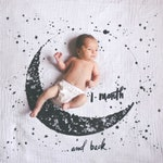 Baby Milestone Blanket Set - Your Choice of Swaddle Blanket Design with Black Cardstock First Year Number Set