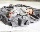 Geode Pattern Charcoal Naturally Dyed Organic Cotton Swaddle Blanket - Fair Trade Certified