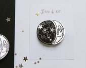 Silver Moon Phase Hair Clips
