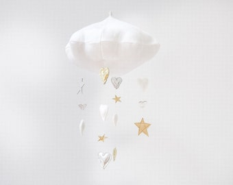 Luxe Cascading Heart and Star Cloud Mobile - Free Shipping in the US - nursery decor