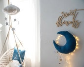 Luxe Cascading Moon Mobile in Indigo Dyed Fabric + Silver Leather