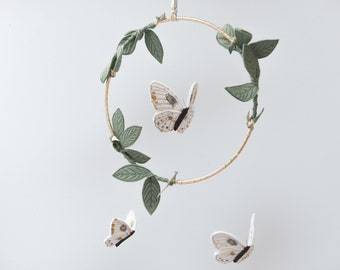 Luna Moth Mobile in Green, Luxe Metallic Gold and White - Nursery Decor for Baby