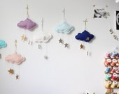 Personalized Mini Star Cloud - keepsake ornament or nursery decor in metallic gold or silver and white felt- Free US Shipping