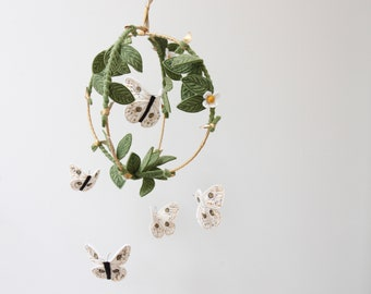 Butterfly Garden Mobile in Green, Gold and White - Nursery Decor for Baby