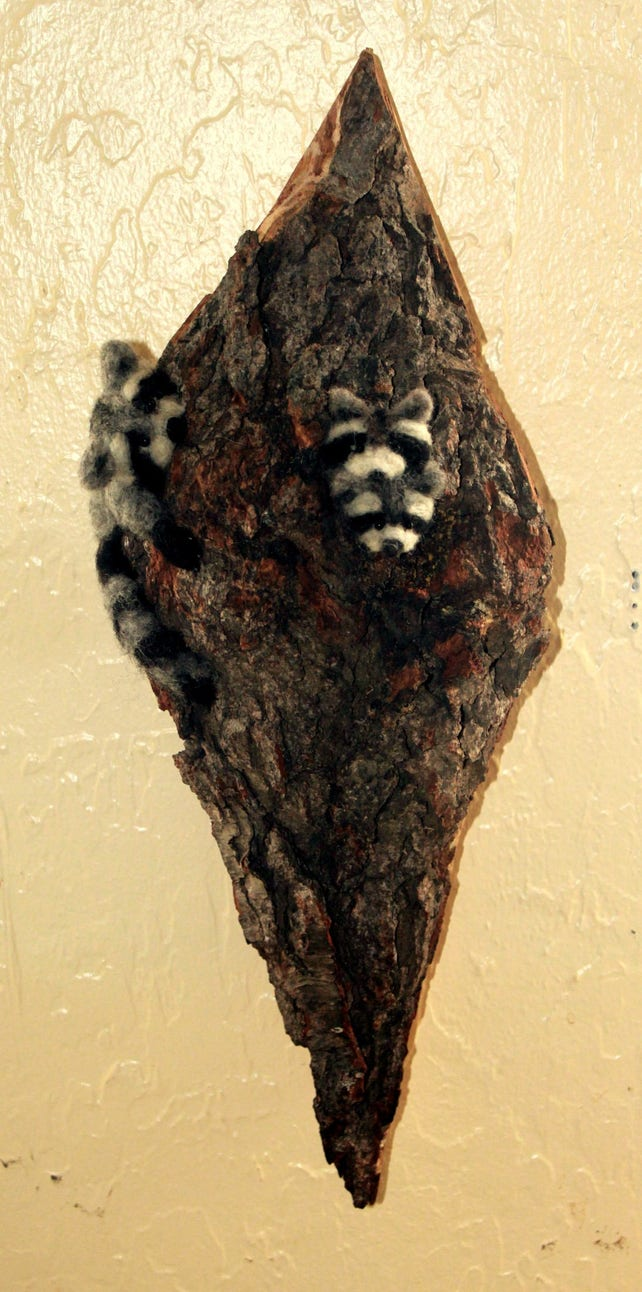 Needle Felted Raccoon Felted Fiber Art Woodland Decor | Etsy