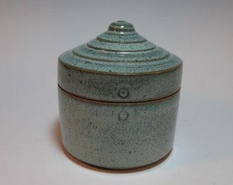 Jewelry Box Salt Box Salt Cellar Tea Sugar Spice Container Blue Green Handmade Pottery