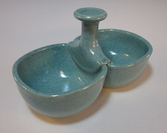 Double Bowl Server Olives Pickles Dressings Frosty Aqua Green Two Four Inch Bowls