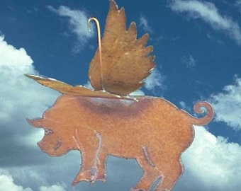 WHEN PIGS FLY Flying Pig  Hanging 3-Dimensional Metal Garden Yard Art decor
