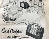 RCA Victor portable radio BX57 model ad 5 1 2 x 7 1 2. 1951