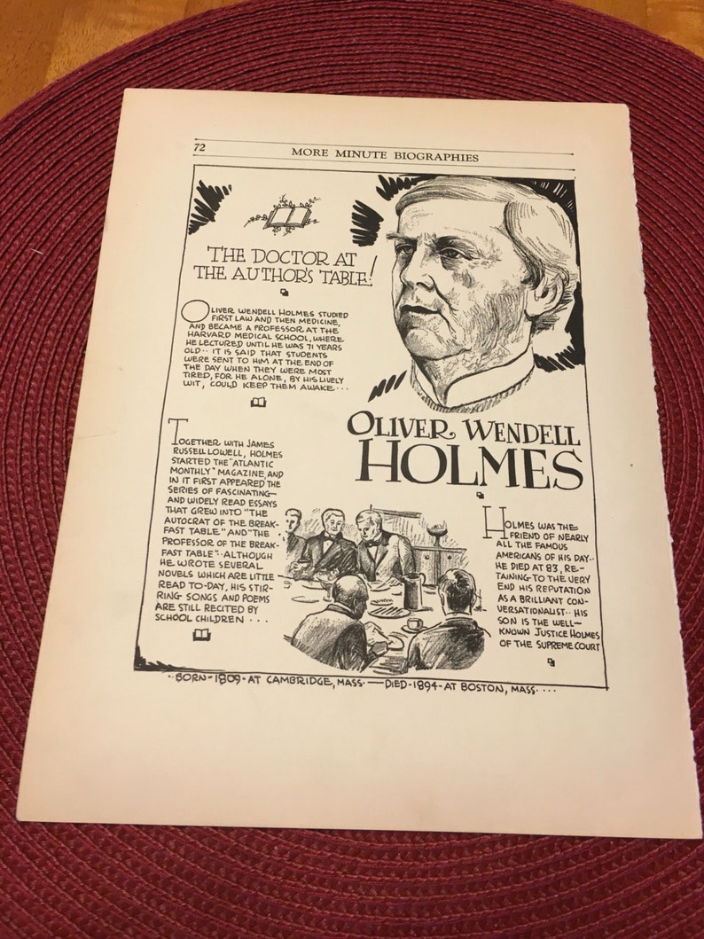 Oliver Wendell Holmes the doctor at the authors table  7 x11 Great for  framing for the collector  History  Book page print