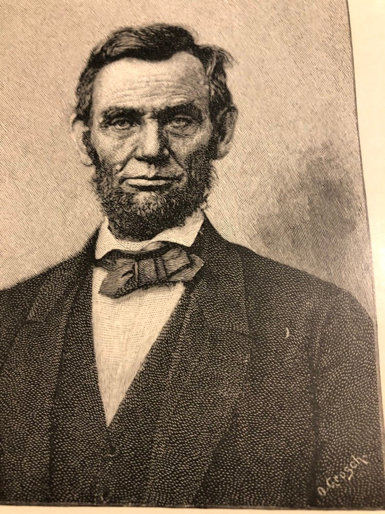 Abraham Lincoln President 5 x 8 book page art.