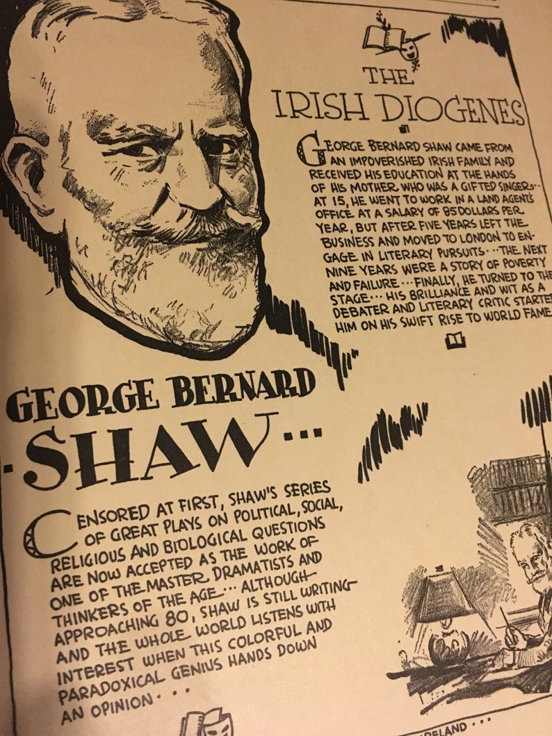 Great for framing. 7 x 11 approx Book page print George Bernard Shaw writer playwright
