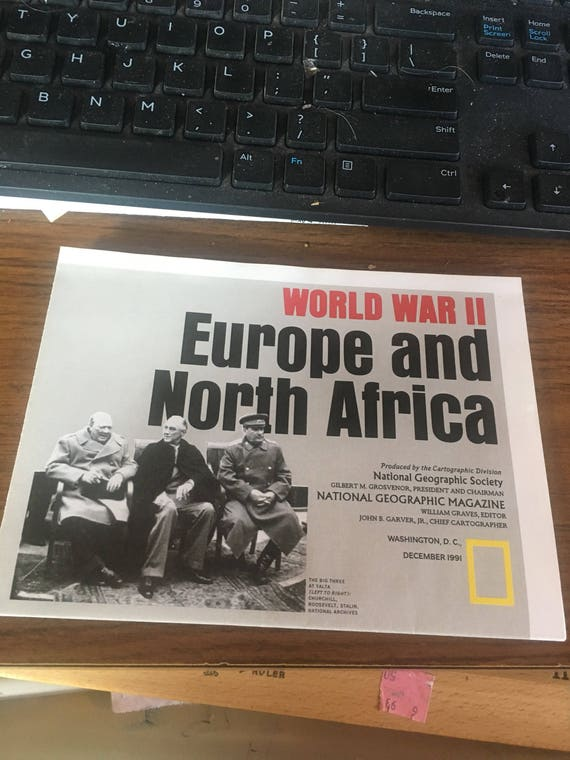 National Geographic map World War II Europe and North Africa. 1991
