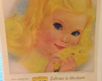 Circa 1960 northern tissue little girls print ad page. 13 x 10