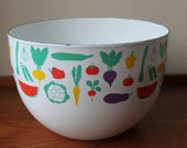 Vintage Finel Enamel Vegetable Bowl, Kaj Franck Design, Arabia Finland, Scandinavian, Kitchenware