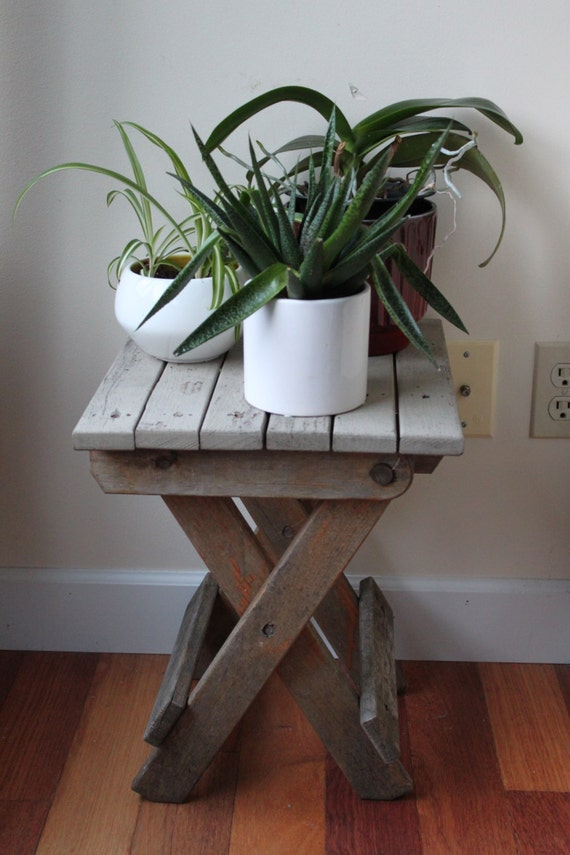Reduced Rustic Wooden Folding Small Table Stool Plant Etsy