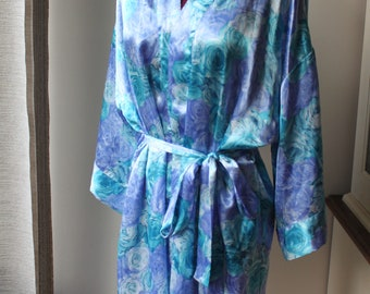 Vintage Blue Flower Robe, La Vie En Rose, One Size