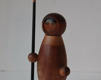Rare Arne Tjomsland Eskimo Wooden Figurine with Original Spear