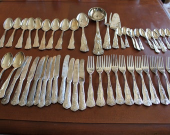 Clearance; Silver Plated Cutleries, Complete Flatware Set for 12,  plus 4 serving pieces
