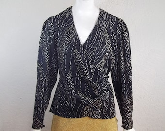 228b2f441a73a7 Vintage Anne Klein Sheer Sparkle Party Trophy Wrap Top M Glamour Girl