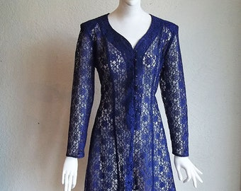 Vintage 90s All That Jazz Lace Fit n Flare Corset Laced Back Mini Dress L
