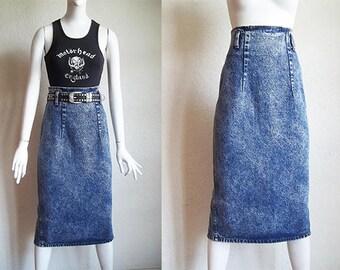 d0057b221 Vintage 80s Grunge ZENA Acid Wash Denim High Waist Midi Pencil Skirt Sz S
