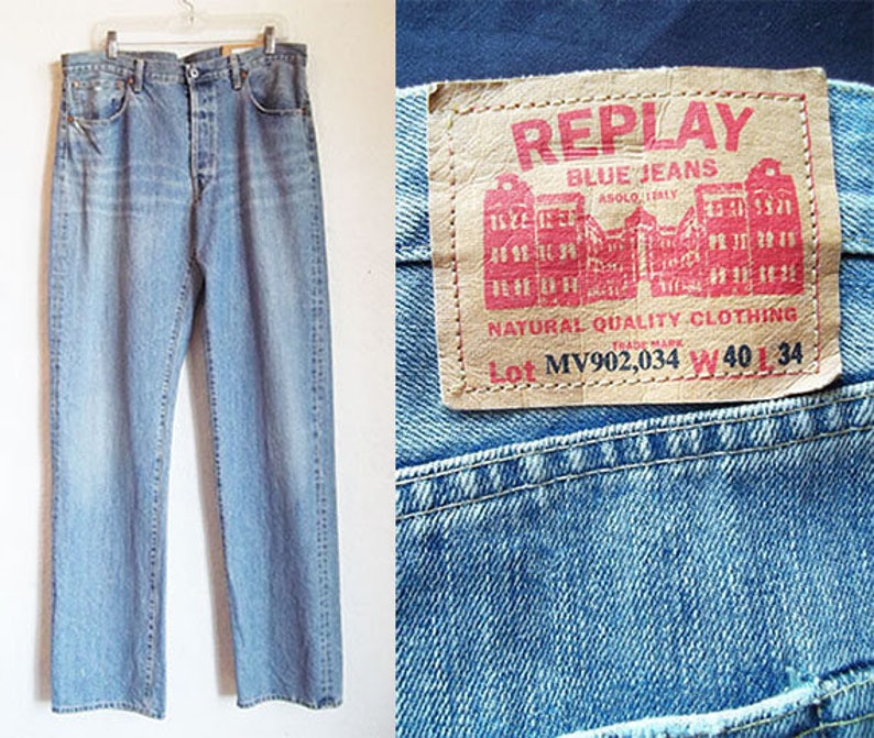 f83c7311604e Vintage 90s REPLAY Italy BOYFRIEND Hand Distressed Denim Jeans
