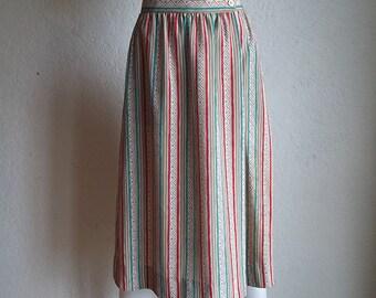 Vintage 80s the Villager Stripe Tribal Print Midi Skirt M 8