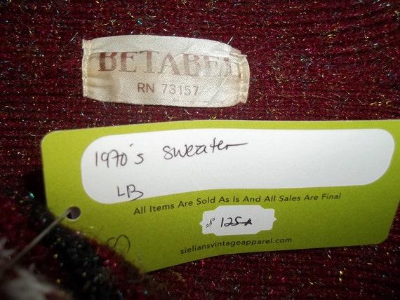Vintage 80s BETABEL Metallic Thread Knit Cardigan Sweater L NOS