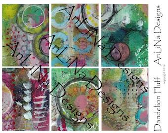 Dandelion Fluff Printable Art Journal Cards, 3x4, Digital Download