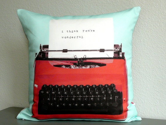 Personalized Typewriter Pillow Pillow Cover Journalist Etsy