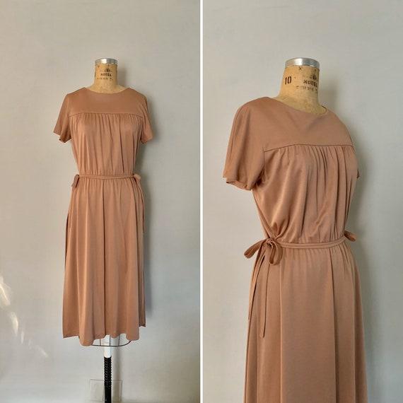 Vintage 1970s Dress with Apron Skirt / 70s Apron S