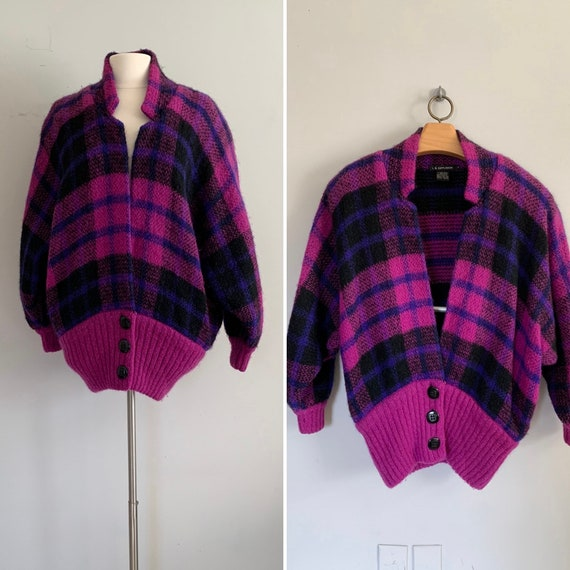 Vintage Plaid Mohair Cocoon Sweater Coat / 80s/90s