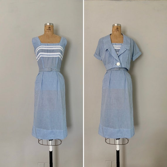 1950s Sundress and Cropped Jacket / 50s Blue Gingh