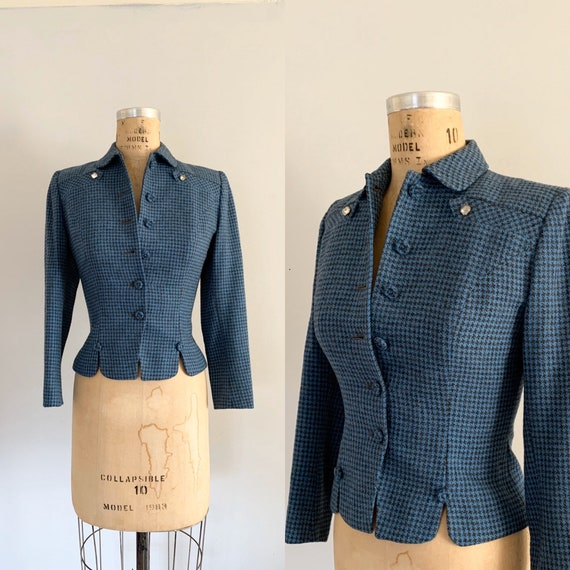 Vintage 1950s  Scottish Houndstooth Jacket / 50s B