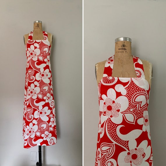 1960s Maxi Dress with Halter Tie Neck / 60s Ribbed