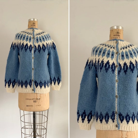 1960s Hand-knit Ikat Cardigan/ Vintage Traditional