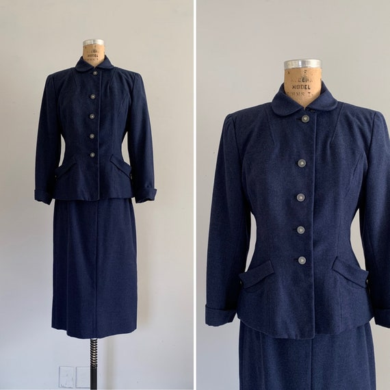 1940s Wool Suit / Vintage 40s Tailored Suit