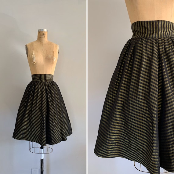 1950s Vintage Striped Taffeta Full Skirt / 50s Ful