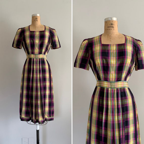 1940s Pastel Rainbow Plaid Taffeta Dress  / 40s Pl