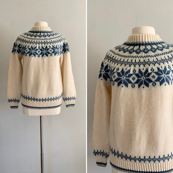 1970s Nordic Hand Knit Fair Isle Pullover Sweater