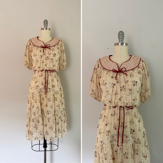 1970s Sheer Prairie Dress / 70s Floral Prairie Dre