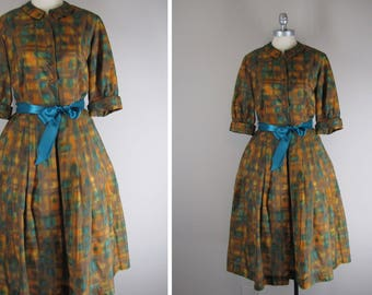 1950s Vintage Dress l 50s Shirtdress in Autumn Colors