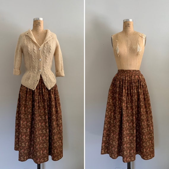 1980s Ralph Lauren Country Floral Cotton Skirt / 8