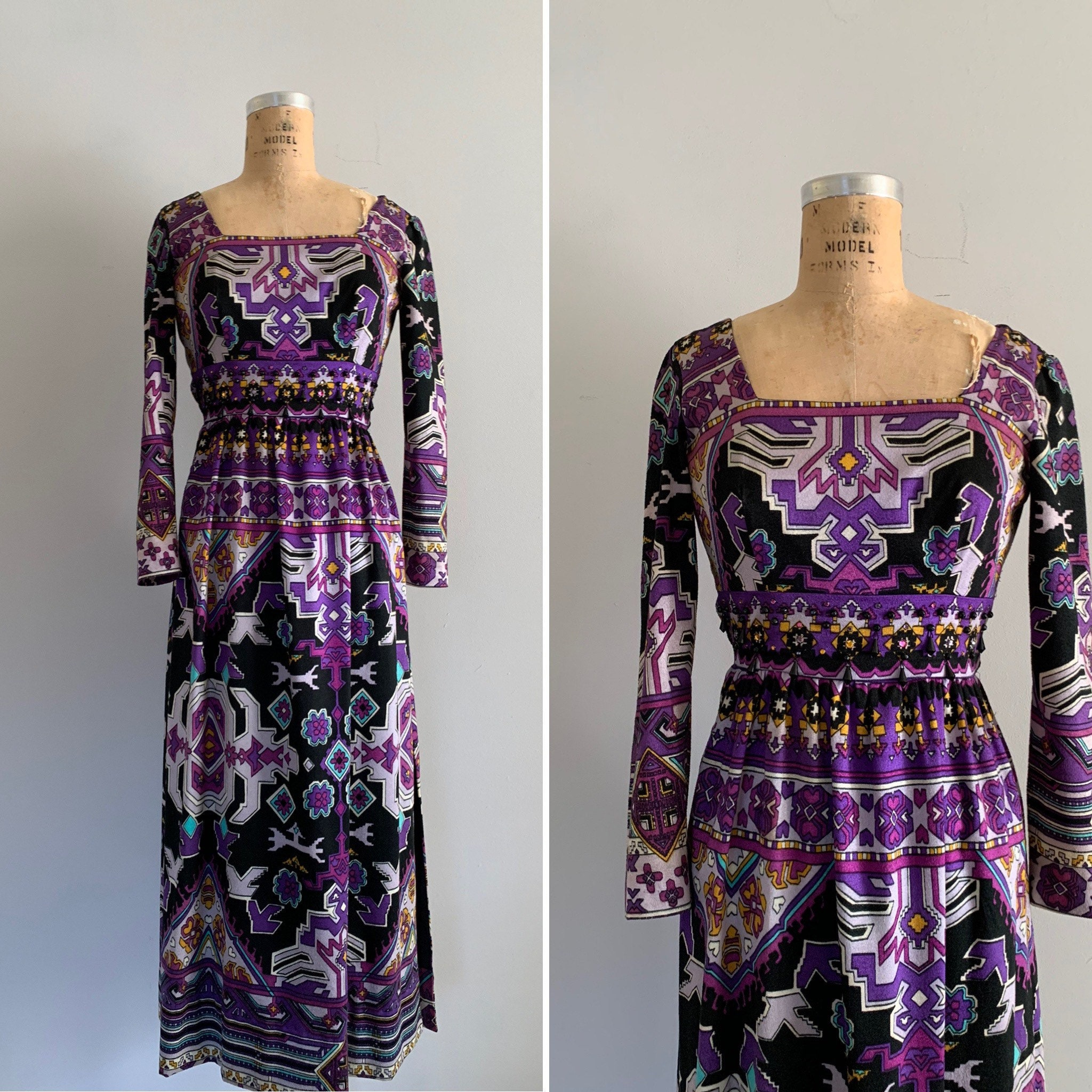 60s -70s Jewelry – Necklaces, Earrings, Rings, Bracelets 1960S Psychedelic Maxi With Zippered Side Slits60S Designer Psychedelic Purple  Black Mod Print Soft Lined Maxi Dress $108.00 AT vintagedancer.com